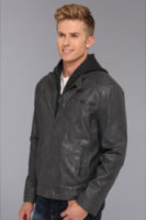 Kenneth Cole Reaction Faux Leather Moto with Hood