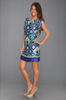 Laundry by Shelli Segal Placement Print Cap Sleeve T Dress