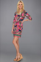 Laundry by Shelli Segal Print Square Neck 3/4 Sleeve Jersey Dress