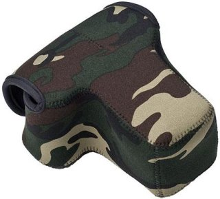 """LensCoat Neoprene Body Bag with Lens Cover Designed for a Camera Body with Lens up to 4.5"""" - Forest Green Woodland Camo"""