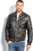 Marc New York Canal Distressed Calf Leather Double-Pocket Bomber Jacket