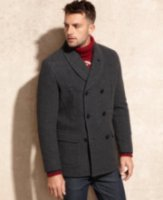 Marc New York Holmes Shawl Collar Herringbone Wool Peacoat