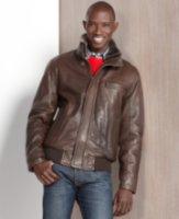 Marc New York Nucky Rugged Leather Bomber Jacket