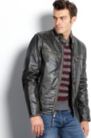 Marc New York Ryder Distressed Calf Leather Moto Jacket