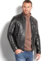 Marc New York Stanton Smooth Lamb Leather Baseball Bomber Jacket