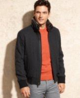 Marc New York Troy Faux Fur Collar Wool-Blend Bomber