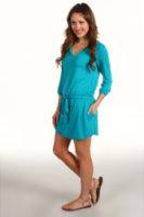 Michael Stars Justine Split Neck 3/4 Sleeve Modal Jersey Dress