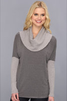 Michael Stars Stripe With Sweater Cowl and Sleeves