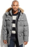 Nautica Faux Fur-Trimmed Hooded Wellon-Filled Wool-Blend Parka