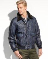Nautica Faux Leather Faux Fur Collar Bomber Jacket