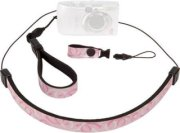 Op/Tech Compact Strap Trio - Neck Wrist & Finger Strap System for Compact Cameras & Other Gear - Pink/White Swirl Design