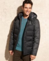 Perry Ellis Collection Mixed Media Hooded Puffer Coat