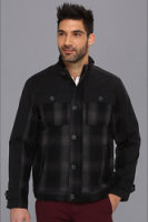 Perry Ellis Collection Wool Plaid Mixed Media Bomber Jacket