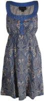 Pink Cattlelac Sleeveless Paisley Print and Demin Dress