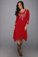Roper Viscose Jesery Dress W/Floral Embroider