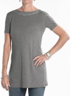 7 For All Mankind Embellished Neck Line Tunic Shirt