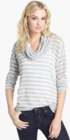 Splendid Antwerp Stripe Cowl Neck Sweater Heather Grey Natural X-Small
