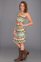 Stetson 8429 Ikat Print Sleeveless Dress