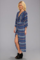 Tbags Los Angeles Bell Sleeve Twisted Front Tulip Skirt Maxi Dress