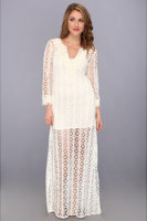 Tbags Los Angeles Crochet Tunic Maxi w/ Feather Lace Neck & Cuff