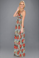 Tbags Los Angeles Deep V-Neck Ruched Tube Long Dress w/ Double Braided Ties