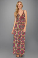 Tbags Los Angeles Deep V-Neck Twisted Strap Long Dress w/ Cross Back Detail