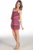 Tbags Los Angeles Ruffle Dress with Cutout Back