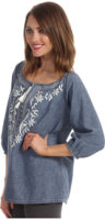 Tommy Bahama Chambray Embroidered Top