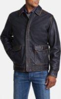 Tommy Bahama Rockin On' Half Zip Lambskin Leather Jacket