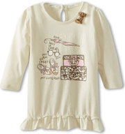 United Colors of Benetton Cute Tee With Ruffle & Cheetah Bow