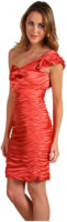Vera Wang Stretch Satin One Shoulder Ruched Dress