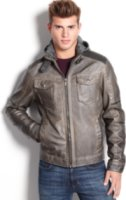 X-Ray Faux Leather Hooded Jacket