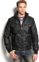 X-Ray Hooded Zip-Front Faux-Leather Jacket